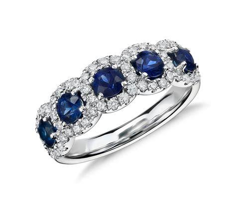 sapphire  diamond halo ring   white gold blue nile