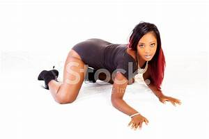 Attractive Young African American Woman Hands and Knees ...