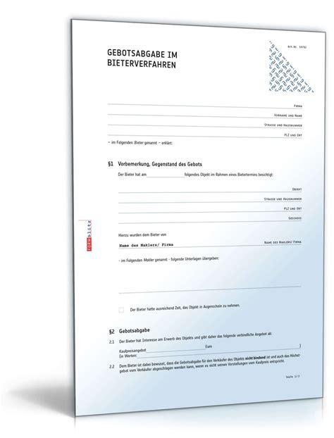 unverbindliches kaufangebot immobilie muster bieterverfahren gebotsabgabe immobilie muster zum