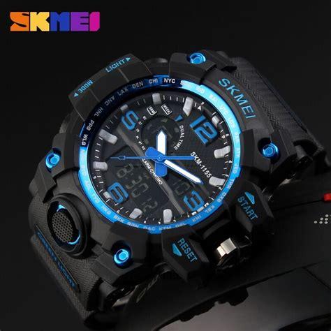 Oleh Oleh Bandung 24 Jam Skmei Jam Tangan Analog Digital Pria Ad1155 Black Blue