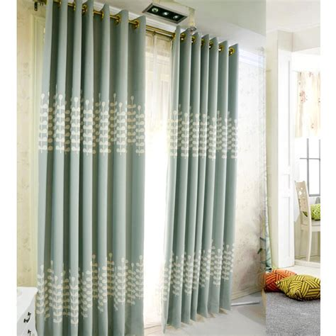 light blue embroidery rustic living room curtain