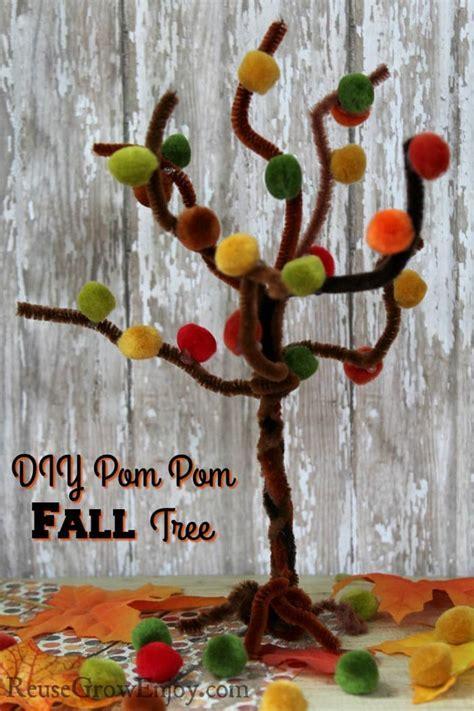 Fall Craft   Easy Pom Pom Fall Tree   Reuse Grow Enjoy