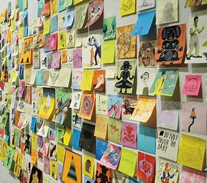 Post It Art : giant robot 39 s post it note art show holiday matinee ~ Frokenaadalensverden.com Haus und Dekorationen