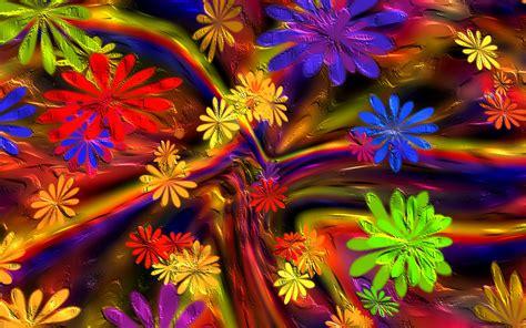 Colorful Paint Flowers Wallpaper For Widescreen Desktop Pc