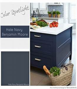 Color spotlight benjamin moore hale navy home decor ideas for Kitchen colors with white cabinets with inhale exhale wall art