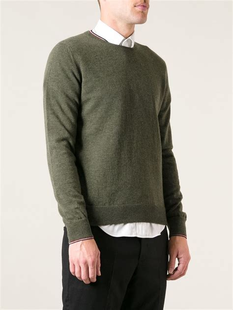 moncler sweater moncler crew neck sweater in green for lyst