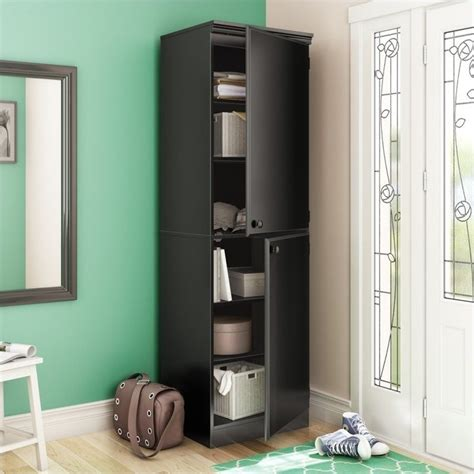 south shore morgan narrow storage cabinet in pure black