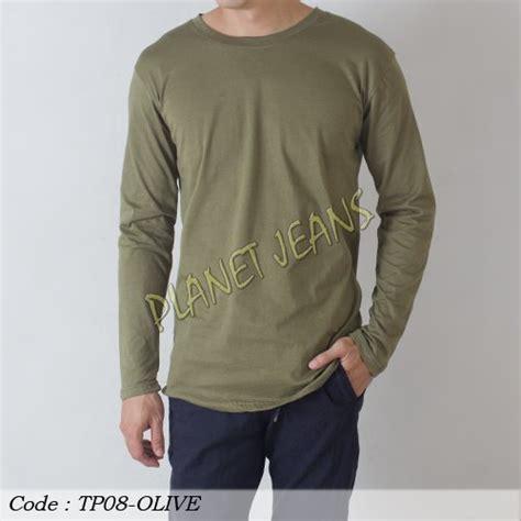 jual baju kaos polos lengan panjang pria baju tangan panjang polosan untuk cowok warna navy