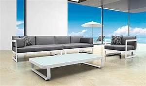 Salon Bas De Jardin Aluminium : salon de jardin lounge blanc modulable 6 places haut de gamme ~ Teatrodelosmanantiales.com Idées de Décoration