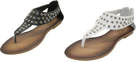 womens easy usa studded flat sandals   zipper