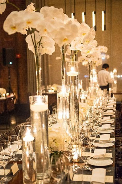 Winter White Orchid Wedding Reception