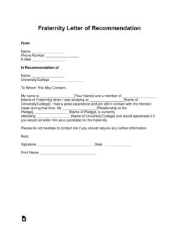 fraternity letter  recommendation template