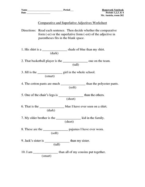 images  adjectives  compare worksheets