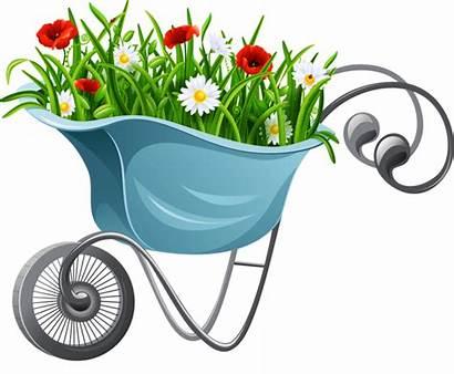 Gardening Garden Clipart Tools Clip Vector Wheelbarrow