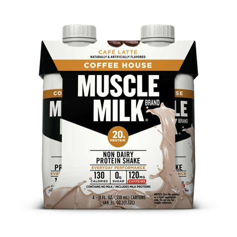 The caffeine in muscle milk® coffee house protein shakes is similar to a cup of coffee. Muscle Milk Coffee House, Café Latte Non Dairy Protein Shake, 11 oz Bottles, 4 | eBay