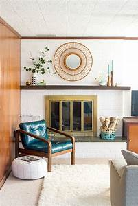 mid century modern living room with white brick fireplace ...