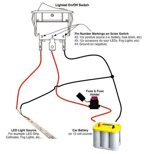 For Automobile 12 Volt Light Wiring Diagram by On Switch Led Rocker Switch Wiring Diagrams