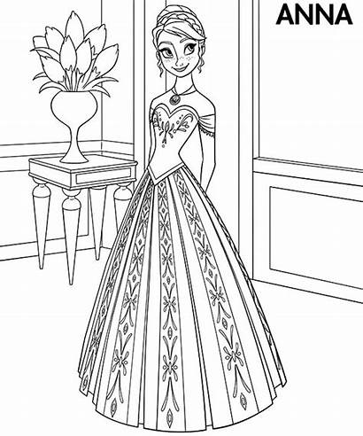 Coloring Anna Princess Frozen Pages Disney Elsa