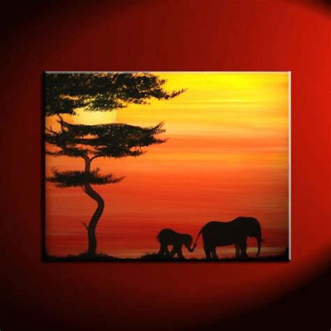 elephant silhouette sunset painting animal silhouette artwork archives by nathalie
