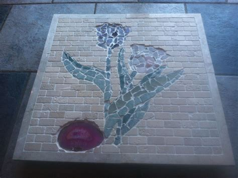 made tile mosaic by custom glass etching custommade