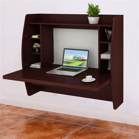 desk l with outlet and organizer walnut wall mount floating computer desk storage two shelf