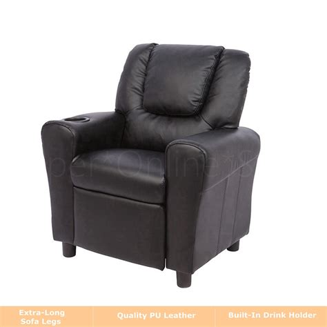 children recliner premium kid leather lounge chair