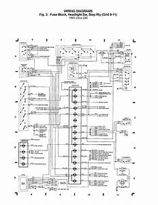 Volvo 240  1993  - Wiring Diagrams - Fuse Block  Headlight Sw  Step Rly  Grid 8 - 11
