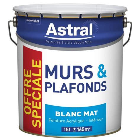 peinture acrylique astral murs plafonds blanc mat 15l peinture blanche mur plafond