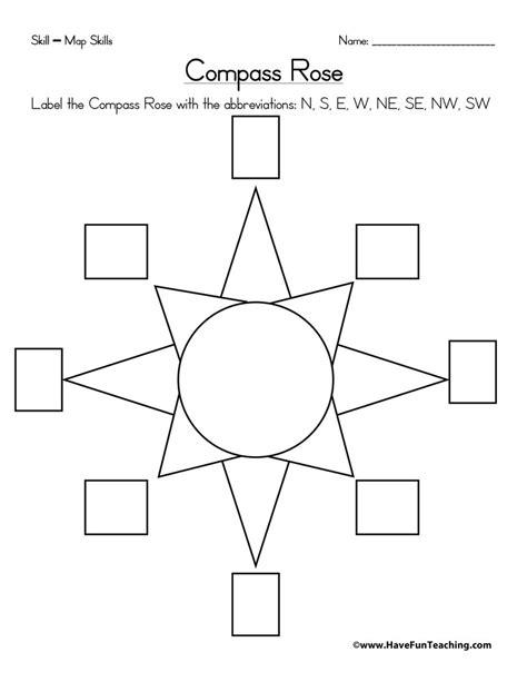 compass rose worksheet have fun teaching