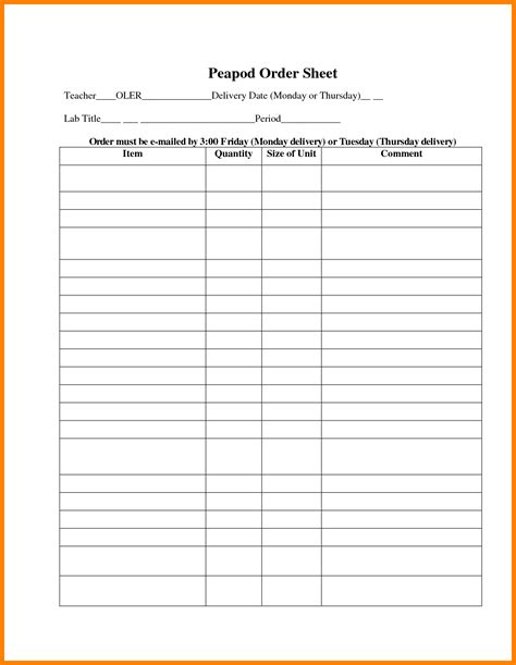 physician order sheet template ledger review
