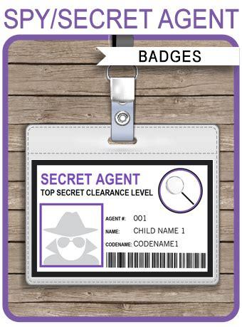 girls secret agent badge template spy badge printable