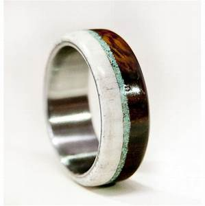 mens wedding band wood and antler ring with turquoise and With mens wood wedding ring
