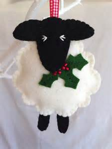 christmas decorations wool felt sheep holly decoration
