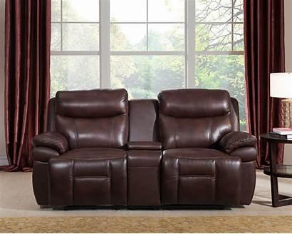 Sofa Leather Loveseat Genuine Power Reclining Brown