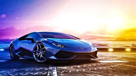 Blue Sports Car Lamborghini Huracan Lp 6104 On Background