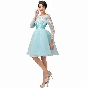 Grace karin sexy women long sleeve organza backless pale for Formal short dresses for weddings