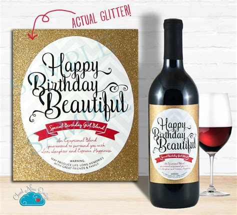 wine birthday happy birthday wine label with real glitter birthday gift for