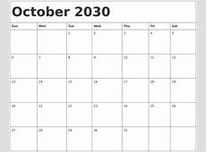 August 2030 Calendar