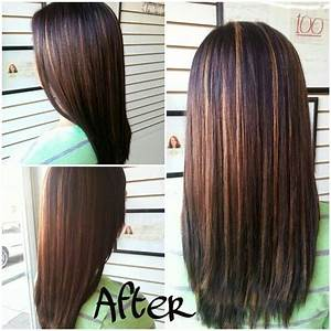Hair color : dark brown/blk hair to dark drown/blk with ...