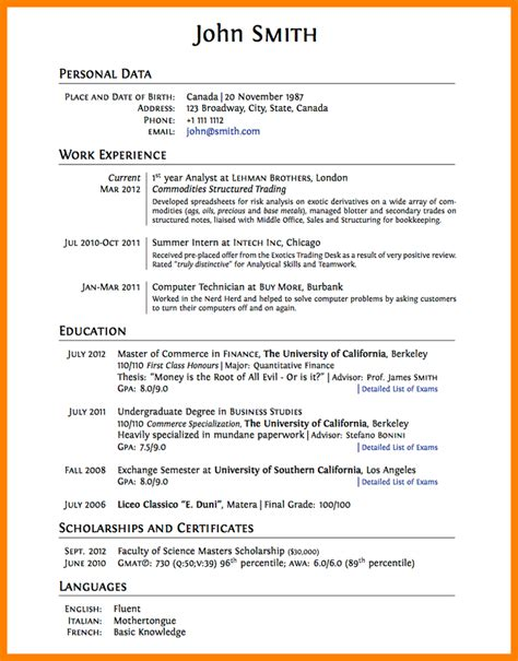 Student Cv Template by 8 Cv Template For College Students Theorynpractice