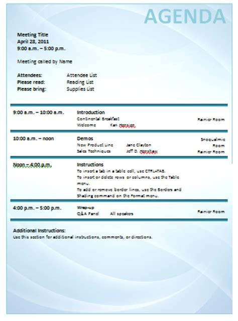meeting agenda templates   templates