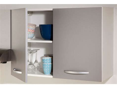 meuble cuisine 30 cm meuble haut 80 cm 2 portes spoon color coloris gris