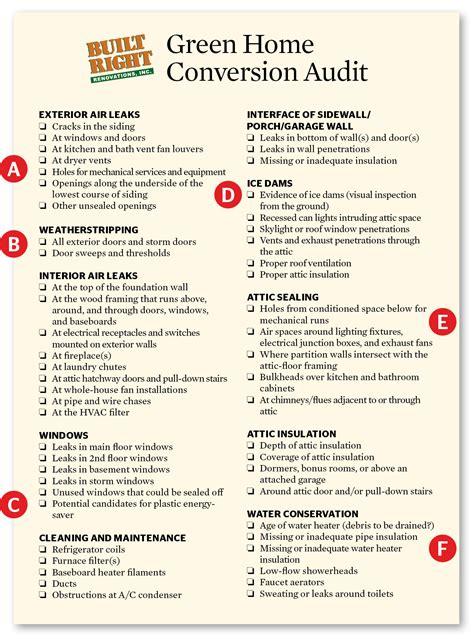 auditing efficiency checklist  identify energy saving