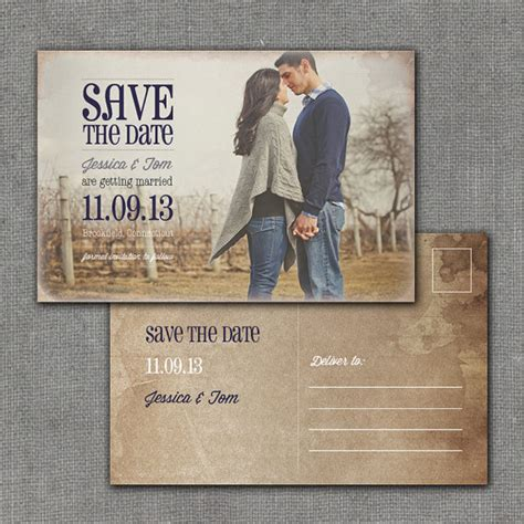 Rustic Save the Date Postcard 4x6 Printable by