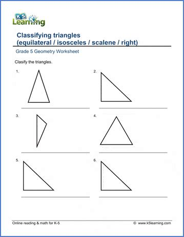 grade  geometry worksheets classifying triangles
