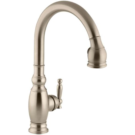 brushed bronze kitchen faucet kohler vinnata single handle pull sprayer kitchen