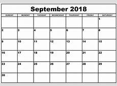 Calendar September 2018 Free Printable – Free Printable