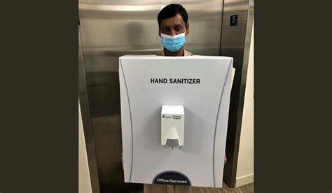 saudi company dresses man   hand sanitizer faces flak