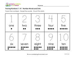 tracing numbers 1 10 number words and dots kindergarten numbers