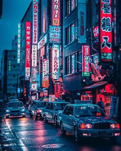 Night Street Aesthetic Urban Neon Rainy Drawing